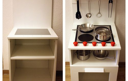 Diy play kitchen made from a bedside cabinet diy ideas for Diy play kitchen ideas