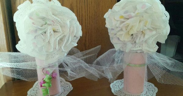 Centerpieces for shower toilet paper roll and paper doily Toilet paper roll centerpieces
