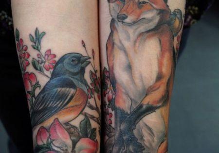 fox, bird, tattoo, cherry blossom, illustration, body art