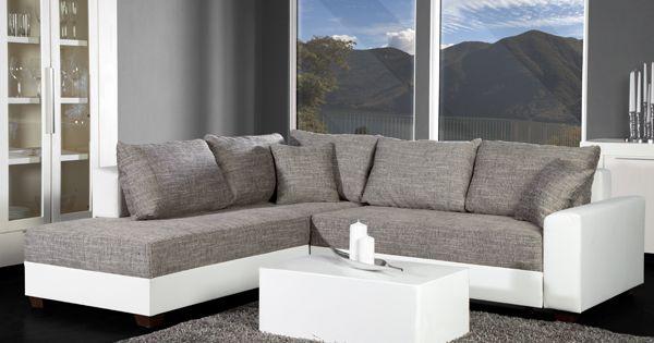 Ecksofa apartment strukturstoff grau kunstleder weiss federkern jetzt bei Riess ambiente sofa