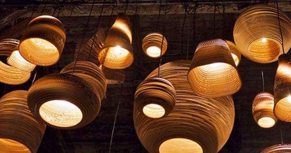corrugated cardboard light fixtures.