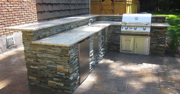 Outdoor prep table with sink bar and fridge google for Outdoor kitchen with sink and fridge