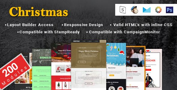 Christmas New Year And Events Responsive Layouts And Notification Email Template Online Bu Email Templates Email Marketing Template Responsive Email Template