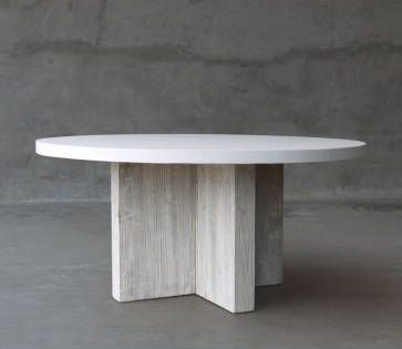Round Concrete And Reclaimed Elm Dining Table Dining Table Dinning Tables And Chairs Elm Tables