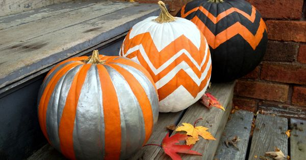 DIY Chevron Pumpkins by mybakingaddiction Halloween Pumpkins Chevron