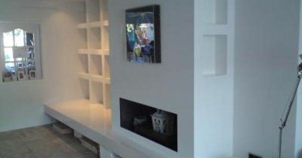 Boekenkast idee met open haard bron idee n voor het huis pinterest tvs of - Deco lounge huis schilderen ...