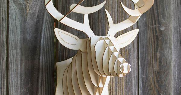 troph e de chasse t te de cerf en carton ou bouleau de cardboard safari troph e mural design. Black Bedroom Furniture Sets. Home Design Ideas