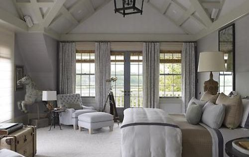 master bedroom - love the high ceilings and decorative accents and lantern!