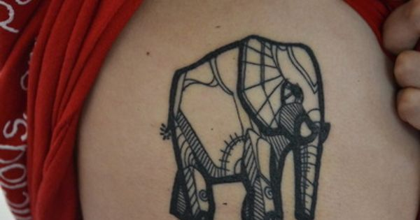 Elephant Geometric Tattoo