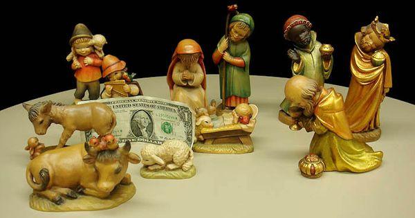 Vintage Anri Ferrandiz 11pc Nativity Creche Set Carved Wood Ex Nativity