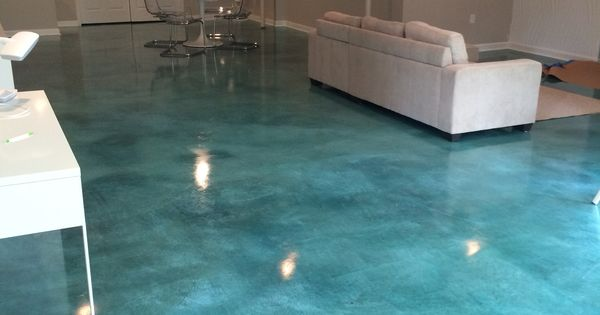 Turquoise Stained Concrete Floors : Acid stained concrete floor turquoise interiors pinterest
