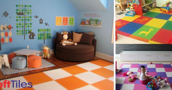 Softtiles interlocking foam mats children 39 s play mats for Playroom flooring ideas