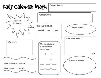 Calendar Math Student Templates And Worksheets Calendar Math Math Template Math
