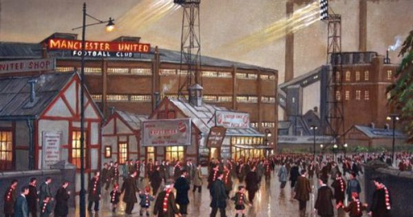 Painting Of Manchester United Football Club Old Trafford Manchester United Art Manchester United Manchester United Soccer