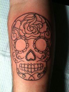 Simple Fine Line Sugar Skull Tattoo Tatuagens Novas Tatuagem Tatuagem Rosa