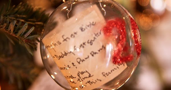 Kids' Christmas list in an ornament with the year. It would be