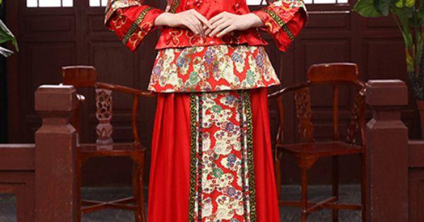 robe de mariage rouge longue chinoise  robes de mariées  Pinterest ...