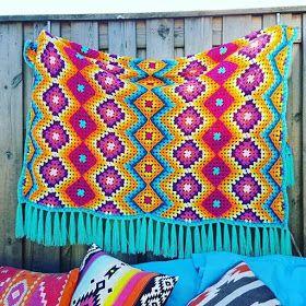 بطانيات الكروشية طريقة بطانية كروشية غرزة الزجزاج مفرش كروشية مربعات جراني Crochet Crochet Afghan Crochet Tutorial