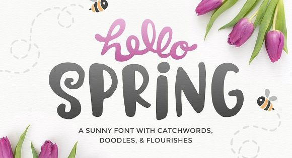 Hello Spring! An adorable new font that comes with catchwords, doodles, and flourishes