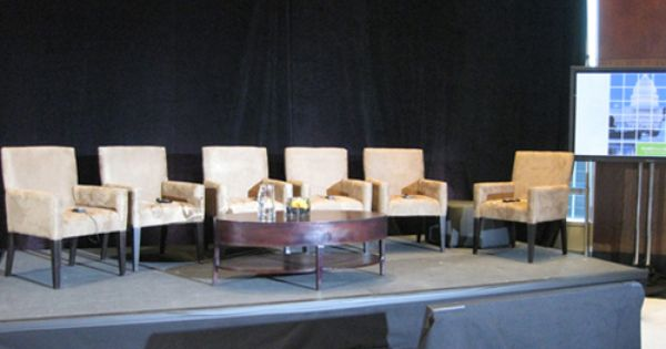 Nice, clean living room style setup for a panel discussion ...