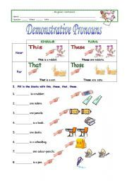 English Worksheet Demonstrative Pronouns