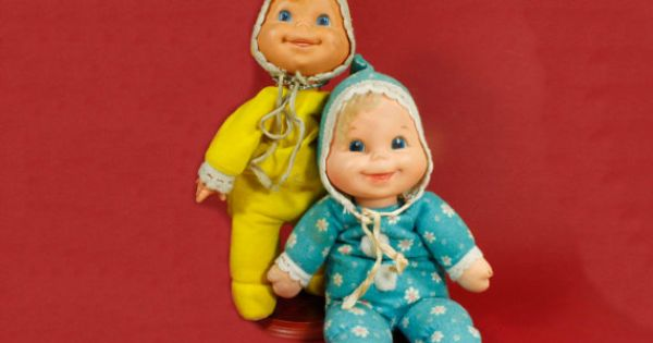 Vintage Mattel Booful Bean Bag Baby Doll Set Of Two