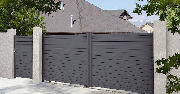 Portail Aluminium Coulissant 1 60m Haut 1 60 M Montants 70 X 40 Mm Portail Aluminium Portail Aluminium Coulissant Portail