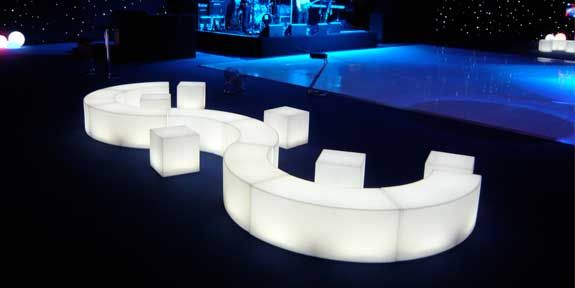 Led Curved Bench Seating Party Furniture Light Sofa Furniture