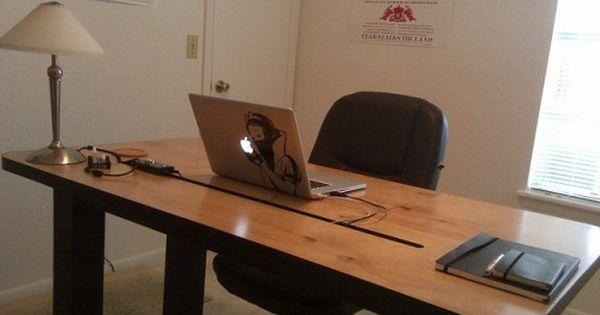 Cool Diy Computer Desk With Cord Management Shelterness Diy Computer Desk Diy Wood Desk Diy Office Desk