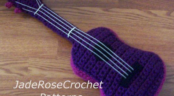 Amigurumi Hat Crochet Patterns : Crochet Pattern Concert Ukulele and Guitar Pillow Thick ...