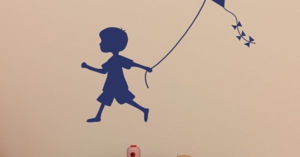 Boy Silhouette Pulling Kite Vinyl Decal Item 133