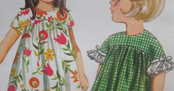 vintage 1960s retro MOD butterick sewing pattern girls DRESS high yoke curved