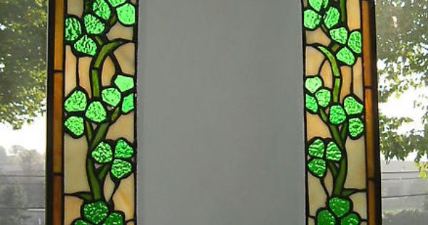 Quot Stained Glass Shamrock Mirror Crafted In The Tiffany
