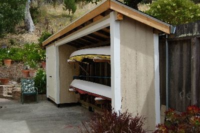 Kayak storage small home remodel ideas pinterest for Canoe storage shed