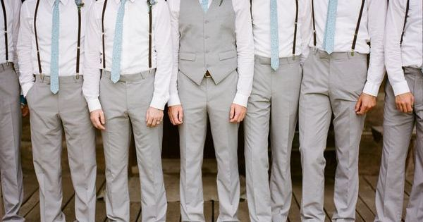 groom in vest, groomsmen in suspenders | Dream wedding ideas!! | Pint…