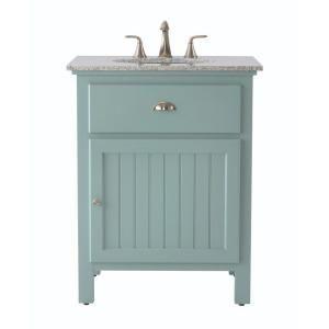 Home Decorators Collection Ridgemore 28 In W X 22 In D Bath Vanity In Sea Glass With Granite Vanity Top In Grey 3062500310 Home Depot Bathroom Vanity Yellow Bathroom Decor Granite Vanity Tops