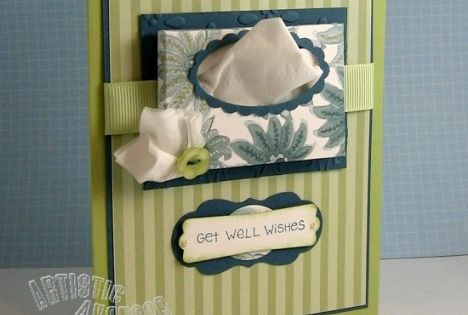 Get Well Tissue box card/box:3 X 2 1/4 score at 1/4 and