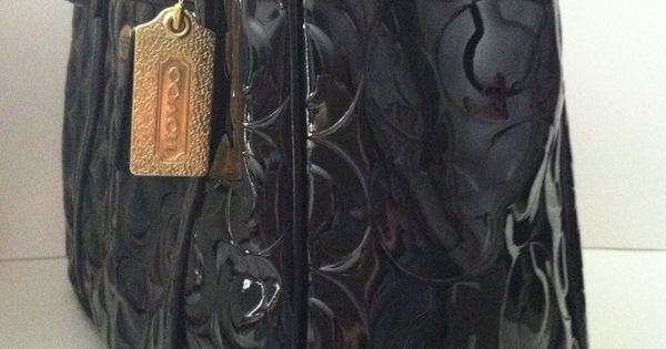 COACH PEYTON OP ART EMBOSSED BLACK PATENT DOUBLE ZIP ...