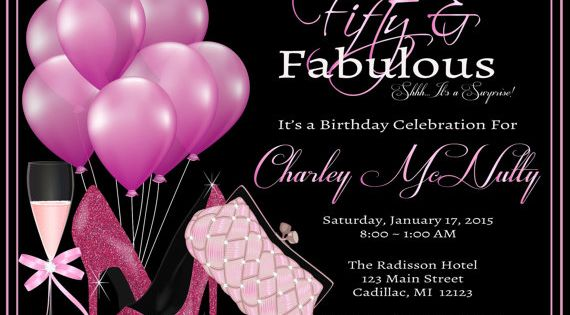 Women's 50th Birthday Invitation • Adult 50th Birthday Party Invitation for Ladies Elegant Pink Party • Any Age
