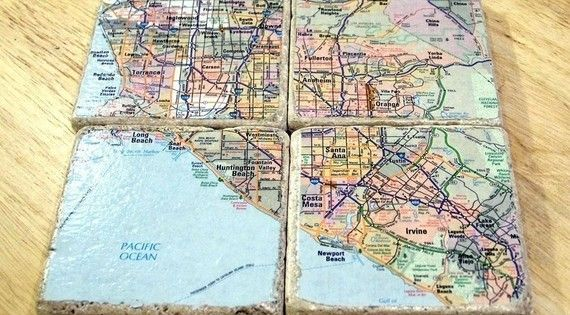 maps + square tiles -- DIY coasters have done tile coasters, but
