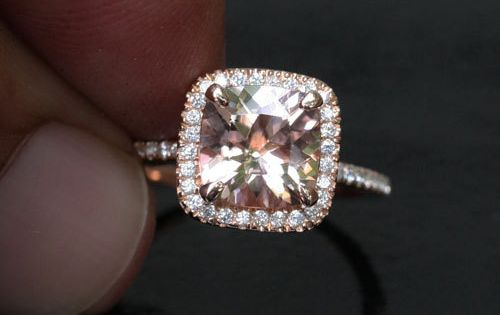14k Rose Gold 8mm Morganite Cushion and Diamonds Single Halo Ring (Choose