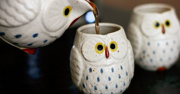 Owl teacups and tea pot