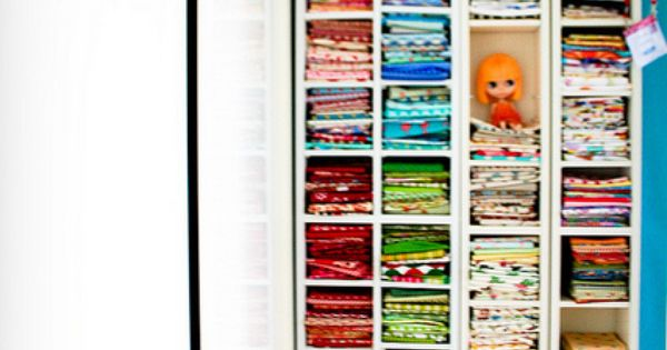 Fabric storage in cd racks. What a great idea!