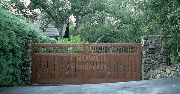 Double Swing Wood Gate With Stone Pillars Driveway Entry