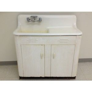 vintage kitchen sink with cabinet white