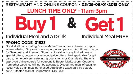 Pinned May 30th Second Lunch Meal Free At Bostonmarket Thecouponsapp Boston Market Shopping Coupons Coupons