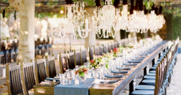 #16. outdoor, long tables, simple, elegant. table setting theme. wedding modcloth Tacori