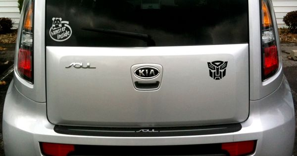Hamster Inside And Autobot Stickers On Kia Soul Thanks