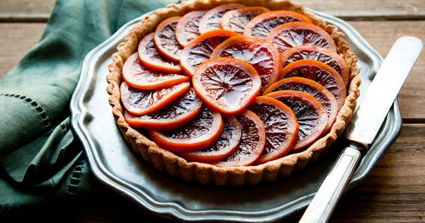 Desserts for Breakfast: Blood orange honey-glazed five spice tart with almond cream