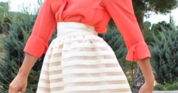 Love the coral shirt and white skirt! Is it summer yet? Lol